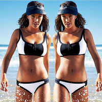 Black and White Zippered Wrapped Chest Bikini