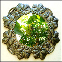 """Haitian Metal Art Wall Mirror - Hibiscus Design - Handcrafted from Recycled Steel Drums - 23"""""""