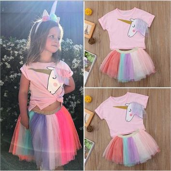 Fancy Pink Unicorn Party Dress For Girls Clothes Summer Tulle Clothing Little Princess Girl Kids Wear Unicornio Pattern 3-8 Year