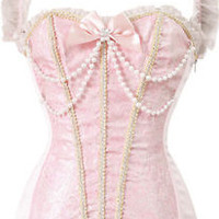 Burlesque Costume Princess Pearl Pink Corset Bustier Waist Training Cincher Top