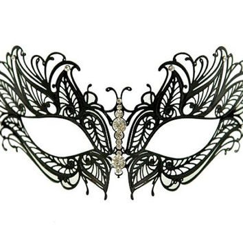 Beautiful Black Butterfly Metal Laser Cut Venetian Mardi Gras Masquerade Mask with Diamonds