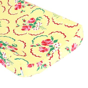 Retro Floral Yellow and Pink Changing Pad Cover - Fits Standard Contoured Changing Pads - 100% Soft Premium Cotton