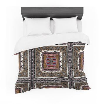 "Victoria Krupp ""Tibet Mandala"" Black White Illustration Featherweight Duvet Cover"