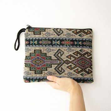 aztec purse, hipster tribal cosmetic bag, native american indian clutch, geometric bag, hippie boho purse,navajo zipper purse