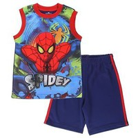 Boys Spider-Man Summer Play Outfit, 2 Piece Spiderman Tank Shirt & Shorts Set
