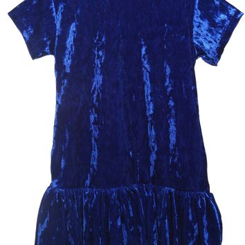 Girls Royal Blue Velvet Hoodie Dress w. Pockets 2-12 & Plus 14x-18x