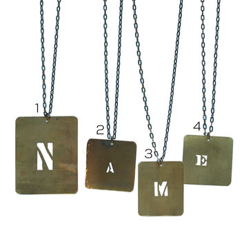 Vintage brass stencil necklace