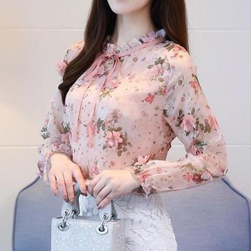 Spring Autumn Chiffon Shirt Blouse Fashion Vintage Floral Printed Stand Collar Bow Female Blouse Long Sleeve Lady Shirt Top XXL