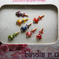 Red Pink Orange Blue Green Yellow Purple Bindis Jewels
