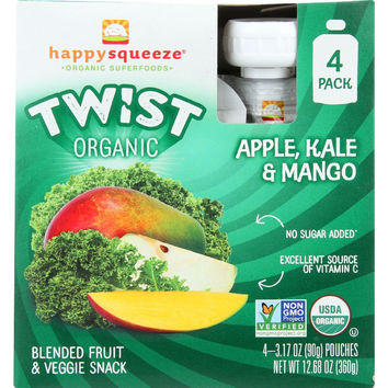 Happy Squeeze Fruit And Veggie Snack  Organic  Blended  Twist  Apple Kale And Mango  4-3.17 Oz  Case Of 4