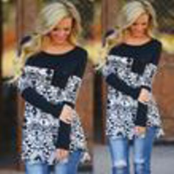Bottoming Loose Long-Sleeve Round Neck T-Shirt