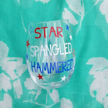 4th of July Wine Glass, Fourth Of July, Star Spangled Hammered, Red White and Blue Wine Glass,  Patriotic Wine Glass