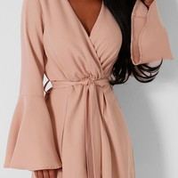 Lopez Nude Wrap Front Playsuit | Pink Boutique