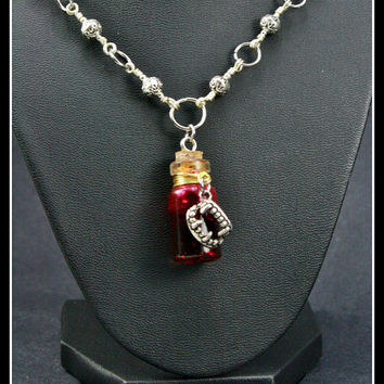 Vampire Blood Vial Pendant on Handcrafted Necklace, One of a Kind OOAK, Medium Bottle Vial 24mm x 13mm