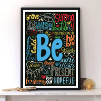 Be Kind , happy - Life Inspirational Typography Quotes Poster