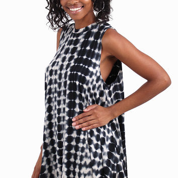 Sweet Freedom Black And Ivory Tie Dye Swing Dress | Ooh La La Boutiques