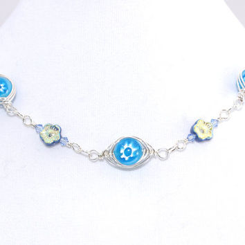 Evil Eye Choker – Light Blue Millefiori Bead Herringbone Wrap Necklace – Protection Jewelry – Graduation Present for Her