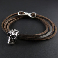 Skull Bracelet Antique Silver Tribal Human Skull Leather Bracelet - Skull Jewelry