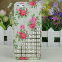 Silver Stud Rose Hard Case Cover for Apple iPhone5 Case, iPhone 5 Cover,iPhone 5 Case, iPhone 5g