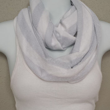 Striped Infinity Scarf White and Grey Infinity Scarves Eternity Loop Cowl Knit Scarf, Winter Scarf Fashion Scarf Silver Scarf