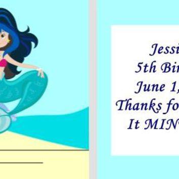 20 Mermaid Birthday Party Matchbook Mint Favors