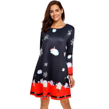 Autumn Women Chrismas Dress Knee Length Long Sleeve O-Neck Winter Christmas Tree Snowman Printed Slim Dresses Plus Size