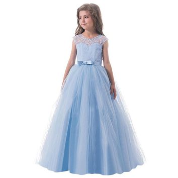 Teenage Girl Lace Flower Wedding Dress Clothes Kids Children's Clothing Girl 6 8 10 12 14 Years Little Lady Prom Gown Vestido