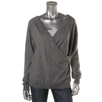 Trina Turk Womens Silk Faux Wrap Pullover Sweater