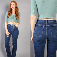 70s DARK WASH JEANS / High Waist Gloria Vanderbilt Pants, xs