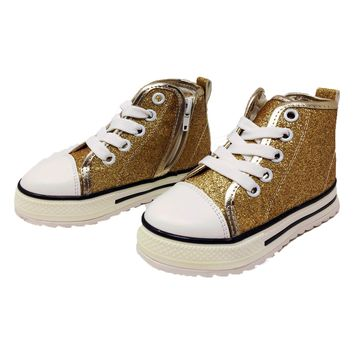 High Top Gold Glitter Sneakers