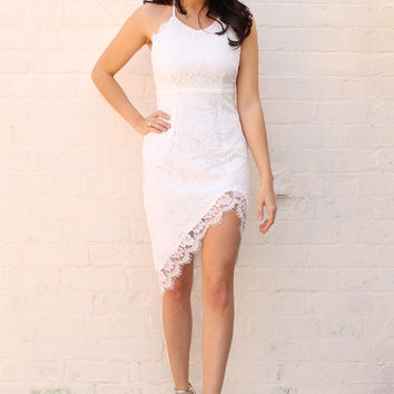 Eyelash Lace Strappy High Neck Thigh Split Dress in White