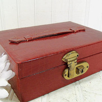 Vintage Brick Red Textured Jewelry Box - Retro HandBag Style Display Case - Gold Satin Interior