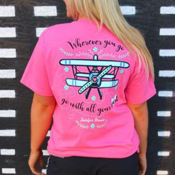 Go With All Your Heart (Heather Pink) - Short Sleeve / Pocket Tee