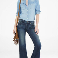 Dark Blue Faded Mid Rise Wide Leg Flare Jean from EXPRESS