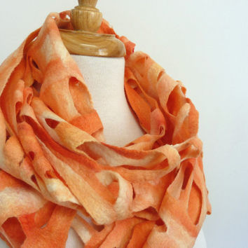 Coral Wool Scarf Felt Scarves on Etsy Chunky Fashion by sesenarts