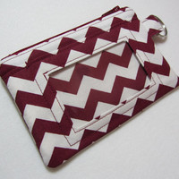 ID Wallet / ID Holder / Keychain Wallet / Keychain ID Wallet / Badge Holder / Coin Purse / Zip Pouch Maroon Chevron - Other Colors Available