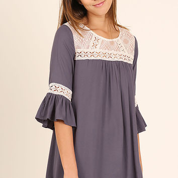 Umgee Dolphin Scoop Neck Dress with Lace and Crochet Details