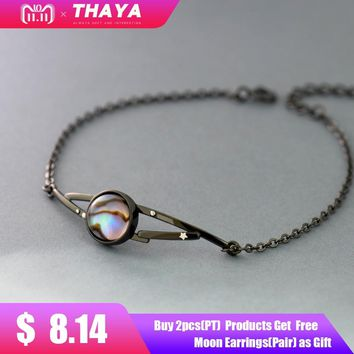 Thaya milky Stars design bracelet natural abalone shell s925 silver black bracelet with halo stone jewelry for women gift