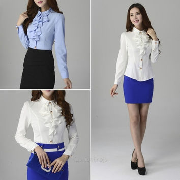Fashion Women's Slim Chiffon Button Down Shirt Tops Long Sleeve Casual Blouse S0