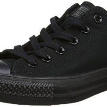 Unisex Converse Chuck Taylor All Star Low Top Sneakers (9.5 Men 11.5 Women, Black Mono