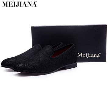 Lace stitching cotton fabric Handmade men loafers fashion
