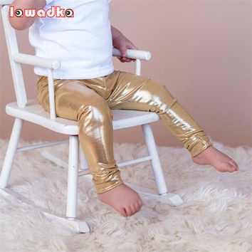 Spring Baby Pants Golden Silver Black 3 Colors Boys Girls Leggings European and American Style Children Trousers Clothing