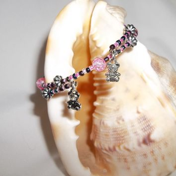 Teddy Bears Pink and Metallic Blue Silver Beaded Hand Crafted Charm Bangle Bracelet