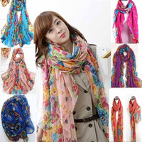 Fashionable Beautiful Women Ladies Floral Flower Scarf Shawl Stole Wrap Scarves  cheap = 1958047428