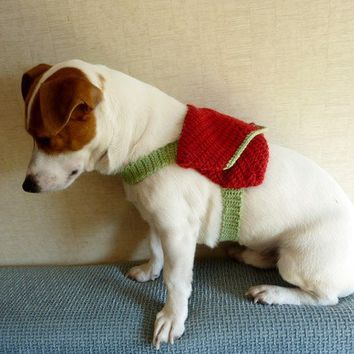 Spring / Summer Red & Green Knitted Dog Backpack / FTTT by mailo