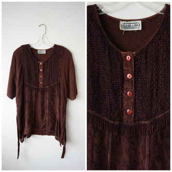 Brown Boho Ethnic Tunic Over-sized Shirt // Bohemian Hippie Grunge Woodstock Festival Clothing // Fringe, Embroidered Soutache