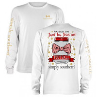 Simply Southern Raised on Sweet Tea, Jesus, and Football Tee- Red