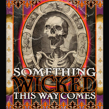 SOMETHING WICKED Creepy Halloween Typographic Print Vintage Ci