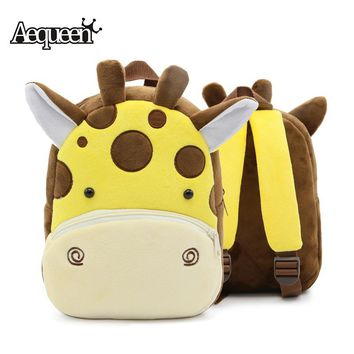 AEQUEEN Cute Animal Plush Children Backpacks for Kindergarten Girl Boy Cartoon Backpack Children Schoolbags 3D Tiger Dog Mochila