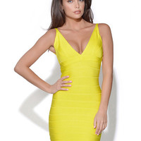 Sleeveles V-Neck Bandage Bodycon Mini Dress